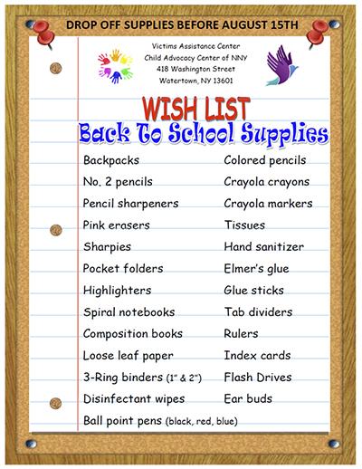 VAC Fundraiser Back to School Supplies