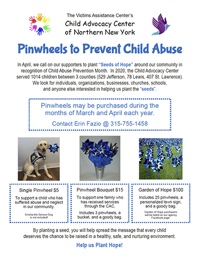 VAC Fundraiser Pinwheels to Prevent Child Abuse